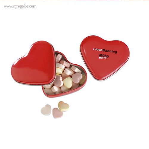 Caja metálica forma corazón logo - RG regalos publicitarios