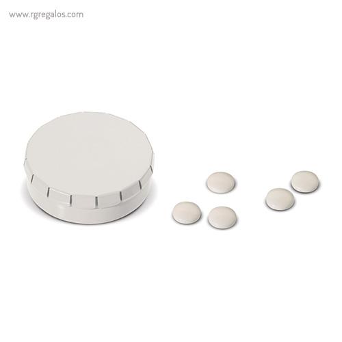 Caja redonda de caramelos click blanca - RG regalos publicitrios