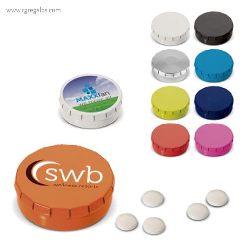 Caja redonda de caramelos click colores - RG regalos publicitrios