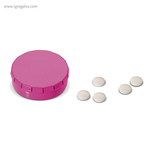 Caja redonda de caramelos click fucsia - RG regalos publicitrios