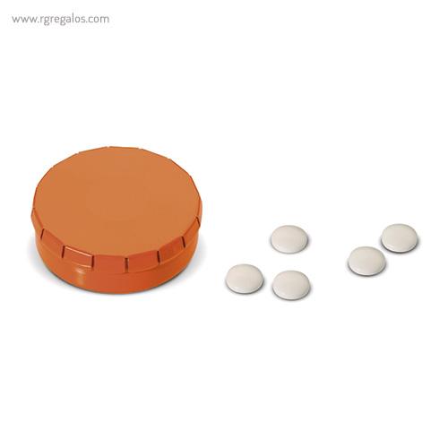 Caja redonda de caramelos click naranja - RG regalos publicitrios