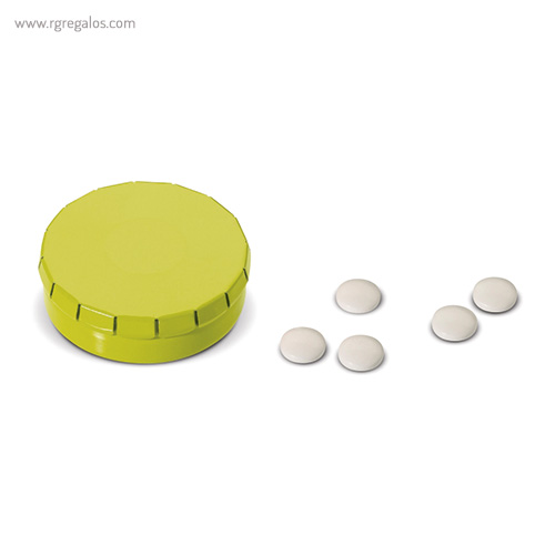 Caja redonda de caramelos click verde - RG regalos publicitrios
