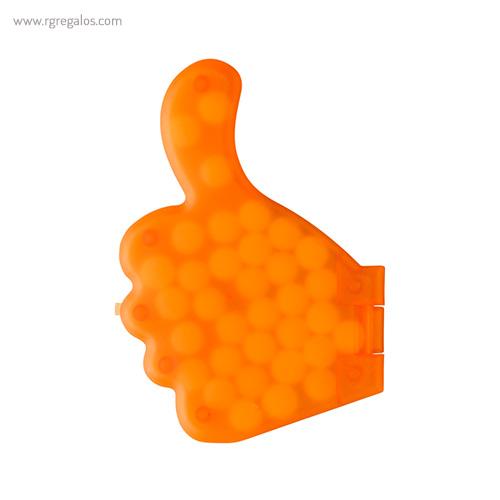 Dispensador de caramelos pulgar naranja - RG regalos publicitarios