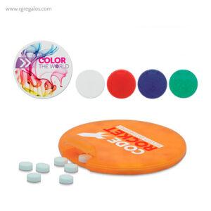 Dispensador de caramelos redondo colores - RG regalos publicitarios