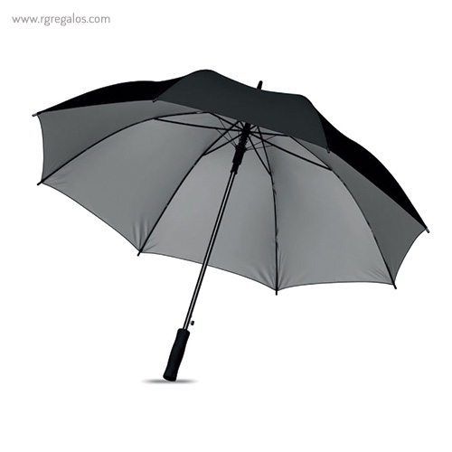 Paraguas automático interior plata negro - RG regalos publicitarios