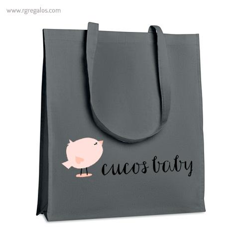 Bolsa algodón con fuelle gris logo - RG regalos publicitarios