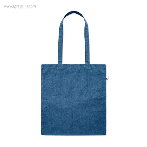 Bolsa de algodón reciclado azul asas largas- RG regalos publicitarios