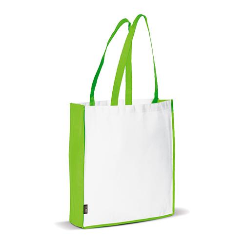 Bolsa non woven asas largas bicolor verde - RG regalos publicitarios