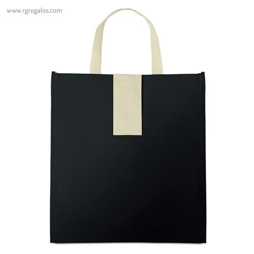 Bolsa plegable non woven negra frontal - RG regalos publicitarios