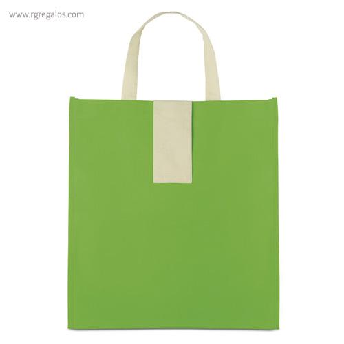 Bolsa plegable non woven verde frontal - RG regalos publicitarios