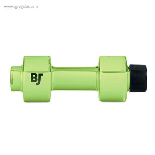 Botella de agua mancuerna verde con logo - RG regalos publicitarios