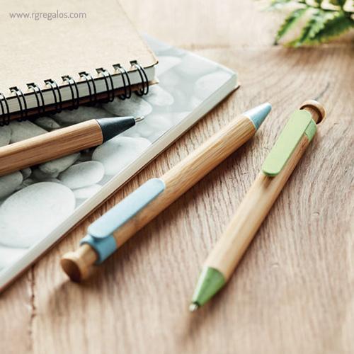 Bolígrafo cuerpo de bamboo imagen - RG regalos publicitarios