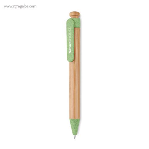Bolígrafo cuerpo de bamboo rojo - RG regalos publicitarios