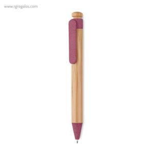Bolígrafo cuerpo de bamboo y paja rojo- RG regalos publicitarios