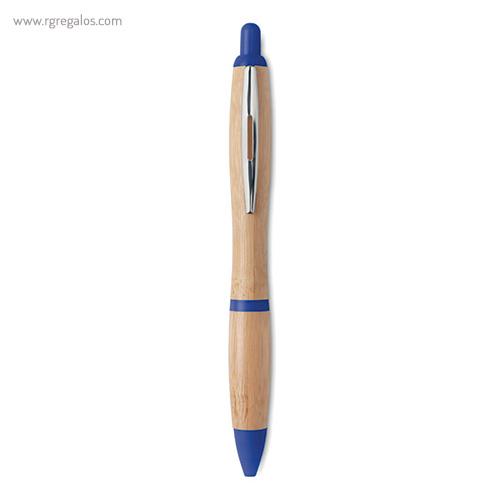 Bolígrafo de bambú azul - RG regalos publicitarios
