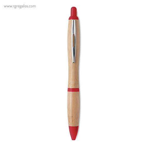 Bolígrafo de bambú rojo - RG regalos publicitarios