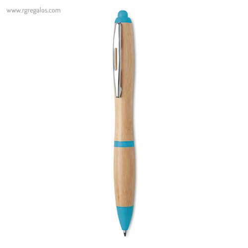 Bolígrafo de bambú y ABS azul cielo - RG regalos publicitarios