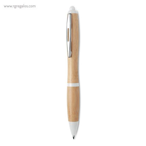 Bolígrafo de bambú y ABS blanco - RG regalos publicitarios