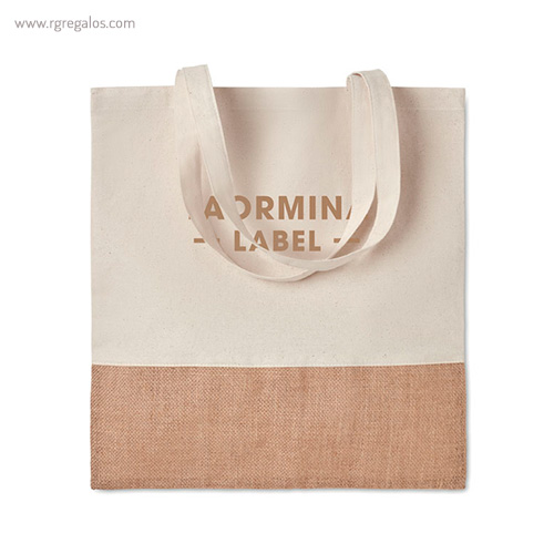 Bolsa combinación yute y algodón logotipo - RG regalos publicitarios