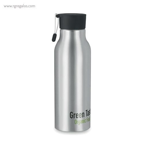 Botella de aluminio personalizada 500 ml negra logo - RG regalos publicitarios