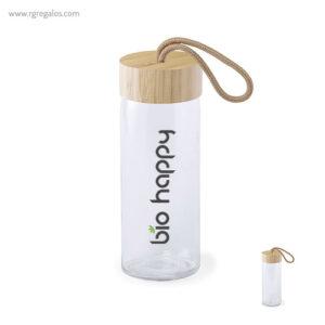 Botella de cristal tapón bambú - RG regalos promocionales