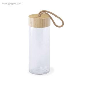 Botella de cristal tapón bambú con asa 420ml - RG regalos promocionales
