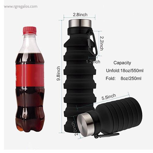Botella plegable de silicona 500 ml medidas - RG regalos publicitarios