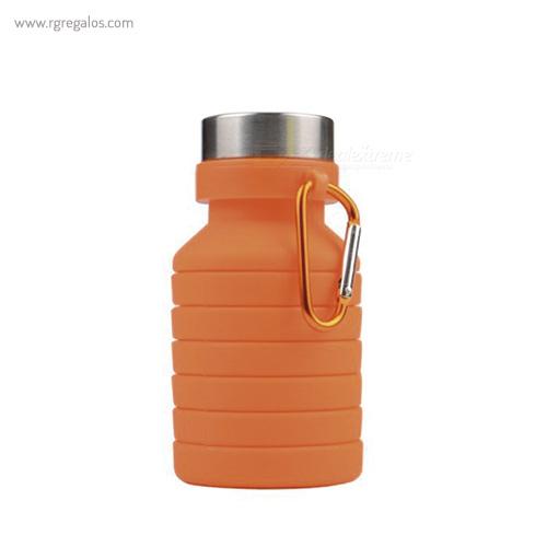 Botella plegable de silicona 500 ml naranja plegada - RG regalos publicitarios