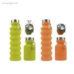 Botella plegable de silicona 500 ml naranja y amarilla - RG regalos publicitarios