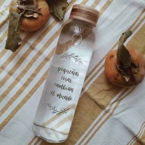 Botella-de-cristal-tapón-bambú-slogan-RG-regalos promocionales