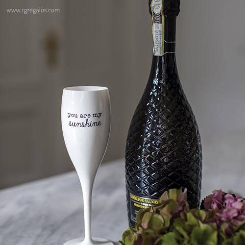Copa champagne reutilizable con frase bodegon 2 - RG regalos publicitarios