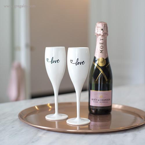 Copa champagne reutilizable con frase bodegon - RG regalos publicitarios