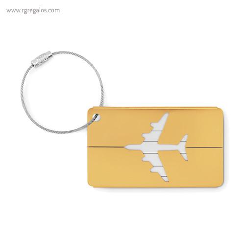 Identificador de maleta en aluminio amarillo 1 - RG regalos publicitarios