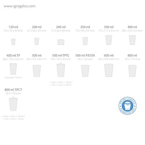 Vasos reutilizables personalizados capacidades - RG regalos publicitarios