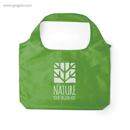 Bolsa plegable en suave poliéster verde con logo - RG regalos publicitarios