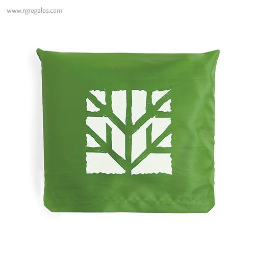 Bolsa plegable en suave poliéster verde plegada - RG regalos publicitarios