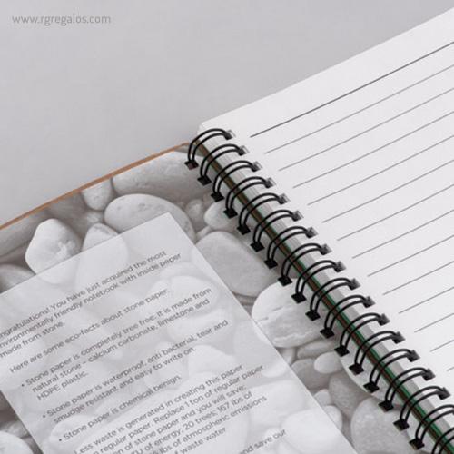 Libreta ecológica con anillas interior piedra - RG regalos publicitarios