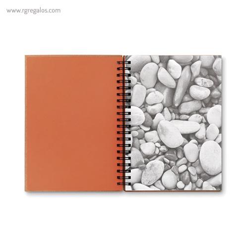 Libreta ecológica con anillas naranja interior- RG regalos publicitarios