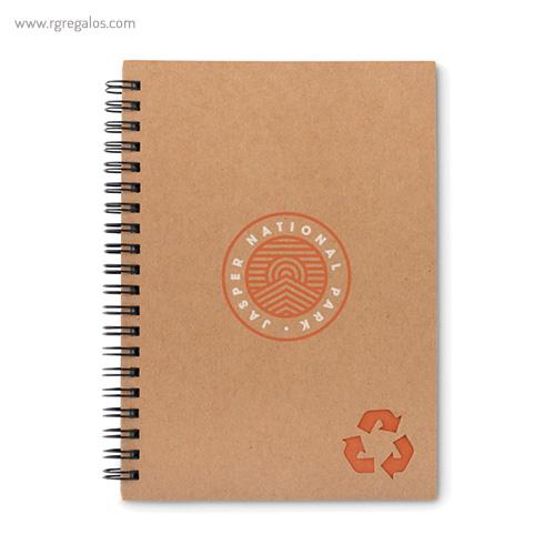 Libreta ecológica con anillas naranja logo - RG regalos publicitarios