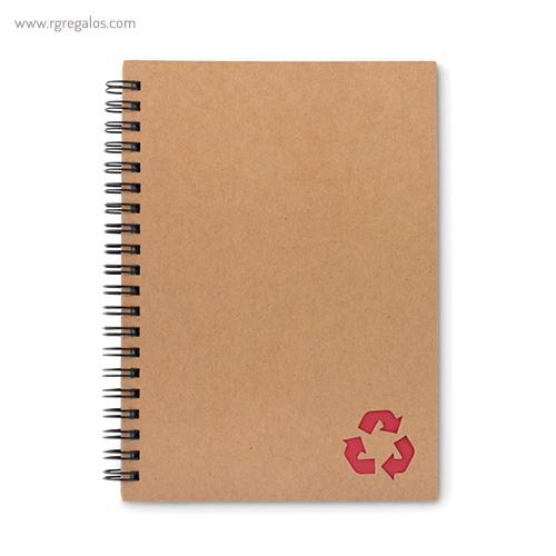 Libreta ecológica con anillas roja - RG regalos publicitarios