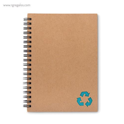 Libreta ecológica con anillas turquesa - RG regalos publicitarios