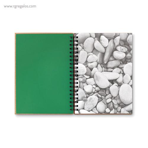 Libreta ecológica con anillas verde interior - RG regalos publicitarios