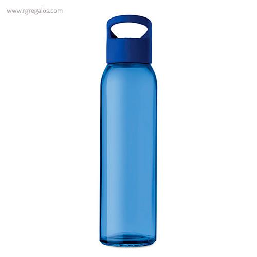 Botella de cristal y tapa de PP azul 470 ml - RG regalos