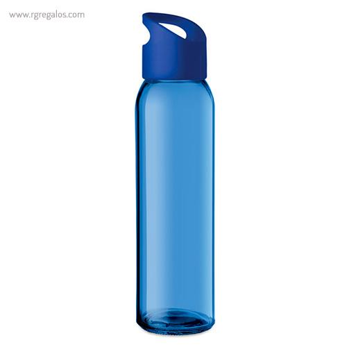 Botella de cristal y tapa de PP azul - RG regalos