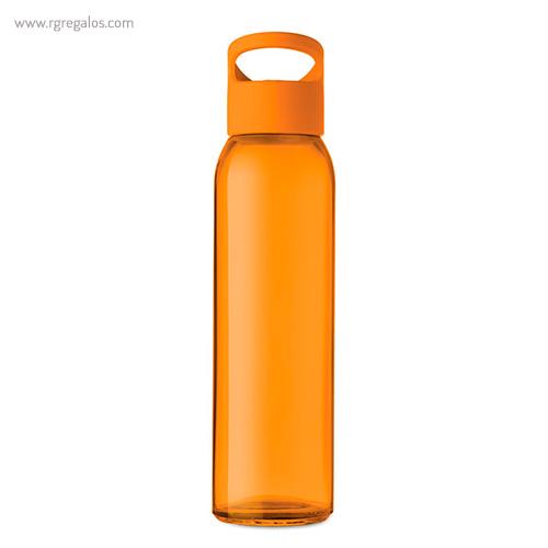 Botella de cristal y tapa de PP naranja 470 ml - RG regalos