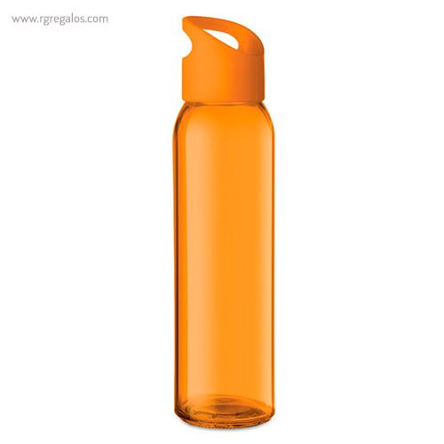 Botella de cristal y tapa de PP naranja - RG regalos