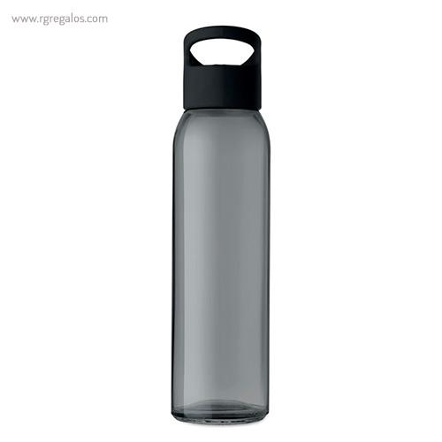 Botella de cristal y tapa de PP negra 470 ml - RG regalos