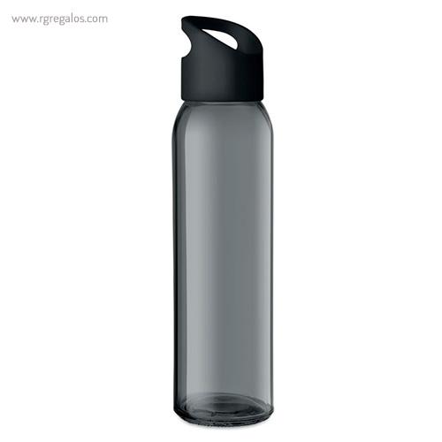 Botella de cristal y tapa de PP negra - RG regalos
