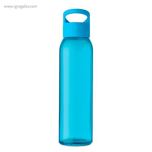 Botella de cristal y tapa de PP turquesa 470 ml - RG regalos