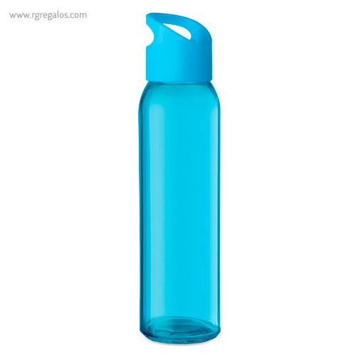 Botella de cristal y tapa de PP turquesa - RG regalos